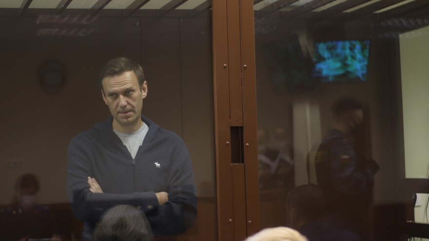 In this photo provided by the Moscow Court Press Service, Russian opposition leader Alexei Navalny appears in court on Friday. Russia is threatening to cut ties with the European Union if the bloc imposes sanctions over Navalny's arrest.