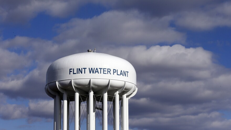 The Flint Water Plant water tower in Flint, Mich.
