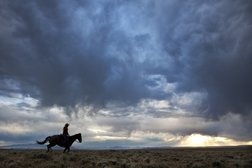 A horseback rider crossing flat scrublands, silhouetted against a sky filled with turbulent clouds, the sun low on the horizon.