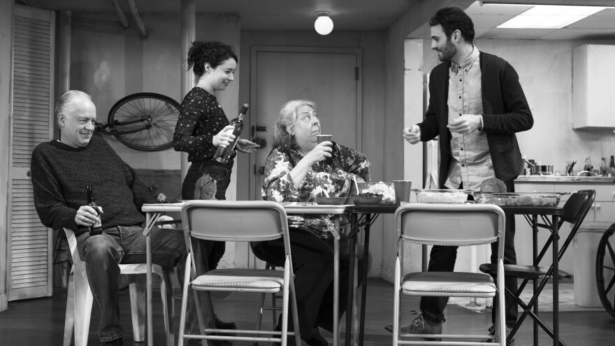 <em>The Humans</em> is set during a family's Thanksgiving dinner, hosted by the youngest daughter and her boyfriend. (Pictured: Reed Birney, Sarah Steele, Jayne Houdyshell, Arian Moayed)