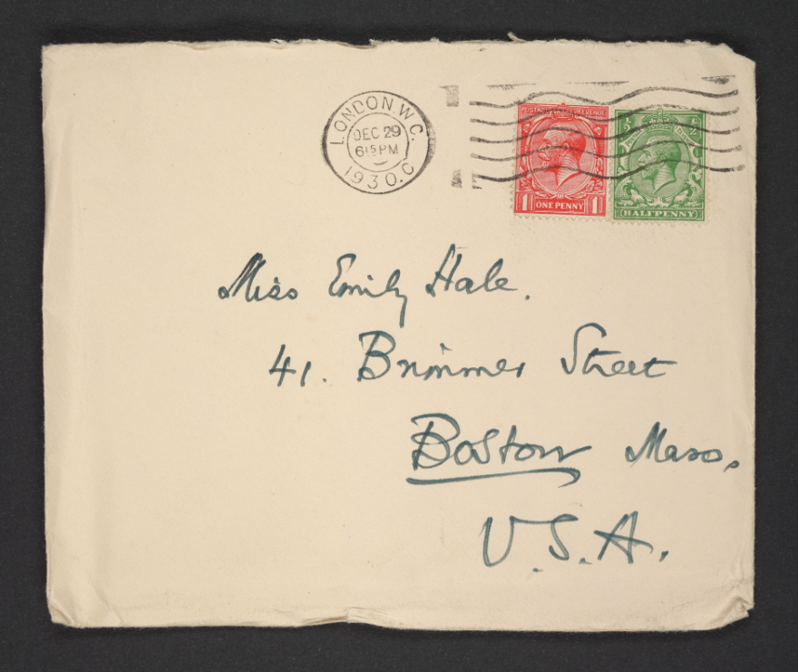 A digitized envelope addressed to Emily Hale at 41 Brimmer Street in Boston, Massachusetts, and handwritten by T.S. Eliot. Photo.