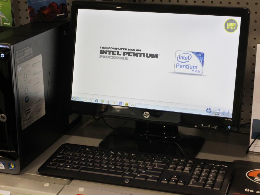 An Intel advertisement on a Hewlett-Packard desktop computer in 2012.