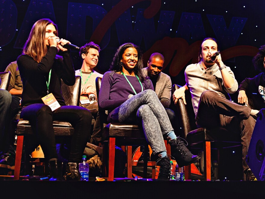 <em>Hamilton</em> creator and star Lin-Manuel Miranda does a freestyle rap about BroadwayCon while co-star Phillippa Soo lays down a beat.
