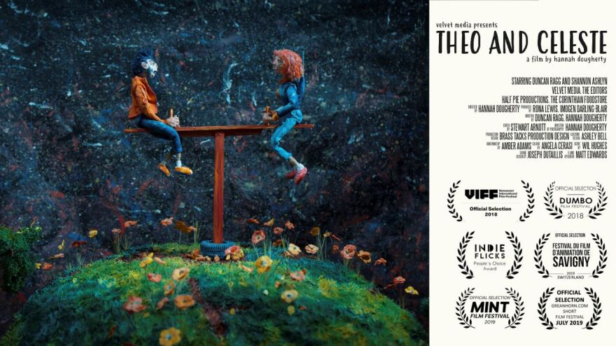 """A poster for the mixed-media film """"Theo and Celeste"""""""