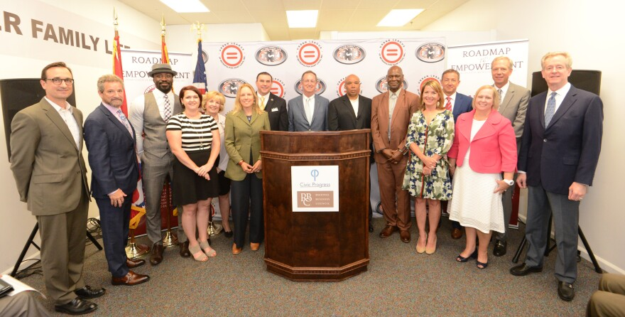 Representatives from organizations receiving funding from the Regional Business Council and Civic Progress pose for a photo. The Concil and Civic Progress announced more than $2 million in funding for these organizations on June 18.