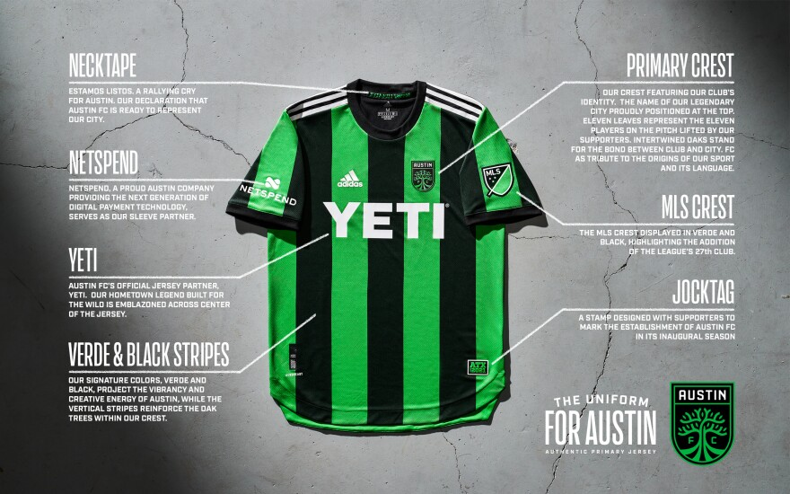 An explainer of all the different features on Austin FC's new jersey.