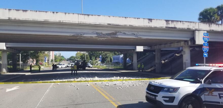 A portion of Interstate 175 and 6th Street South are closed in St. Petersburg after a large truck struck the I-175 pass. ST. PETERSBURG POLICE DEPARTMENT