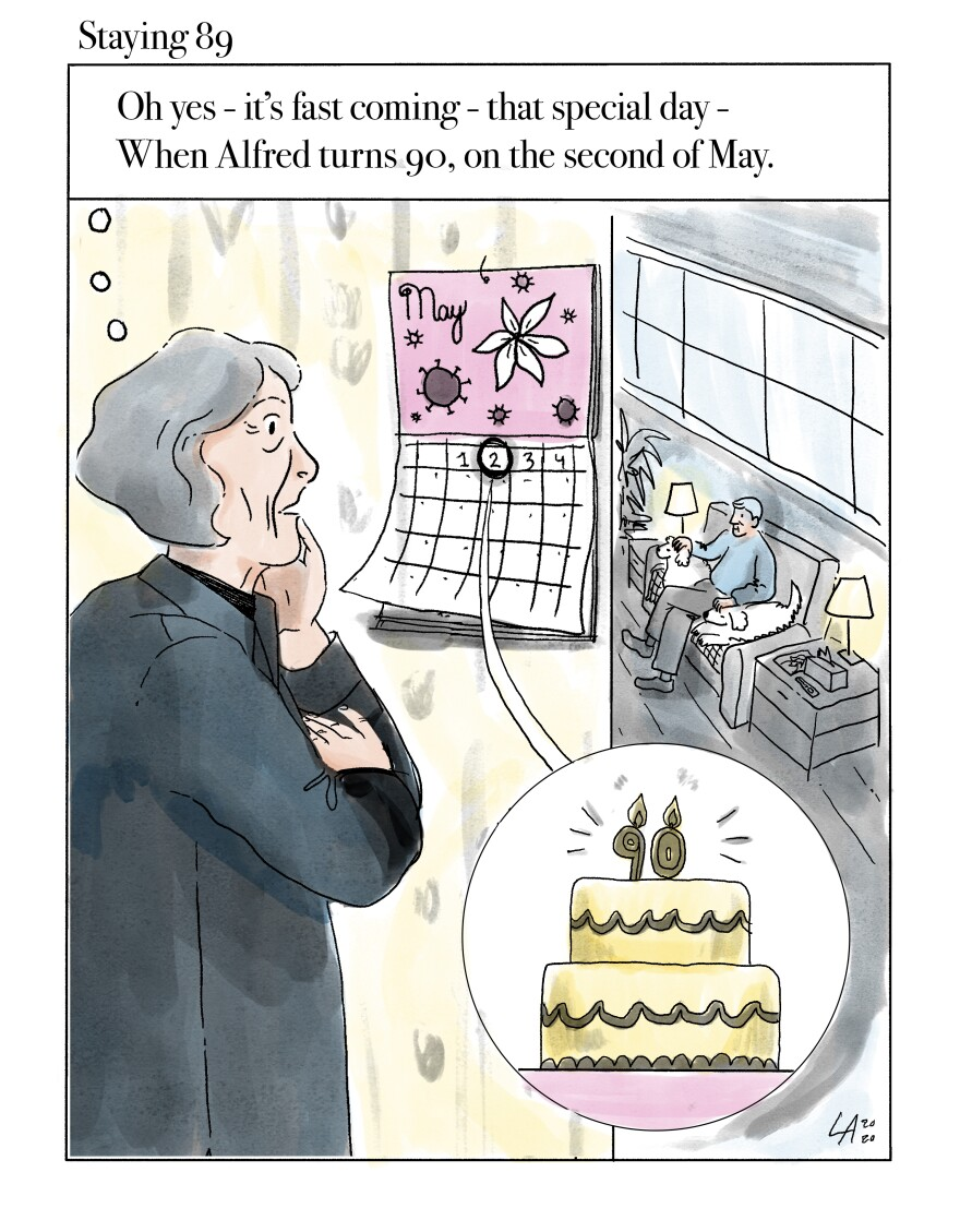 Staying 89: Oh yes -it's fast coming -that special day -When Alfred turns 90, on the second of May.