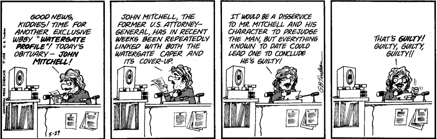 <strong>Tuesday, May 29, 1973 </strong><em>DOONESBURY © G. B. Trudeau. Reprinted with permission of ANDREWS MCMEEL SYNDICATION. All rights reserved.</em>