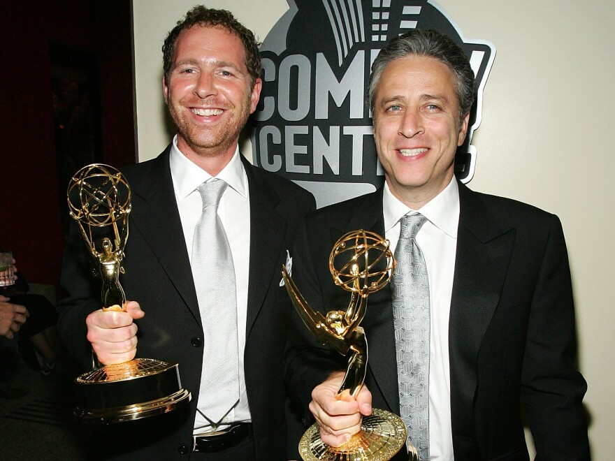 Jon Stewart and Ben Karlin, executive producer of <em>The Daily Show</em> from 2004 to 2006, won Emmy Awards for their work on<em> </em>the show in 2005.