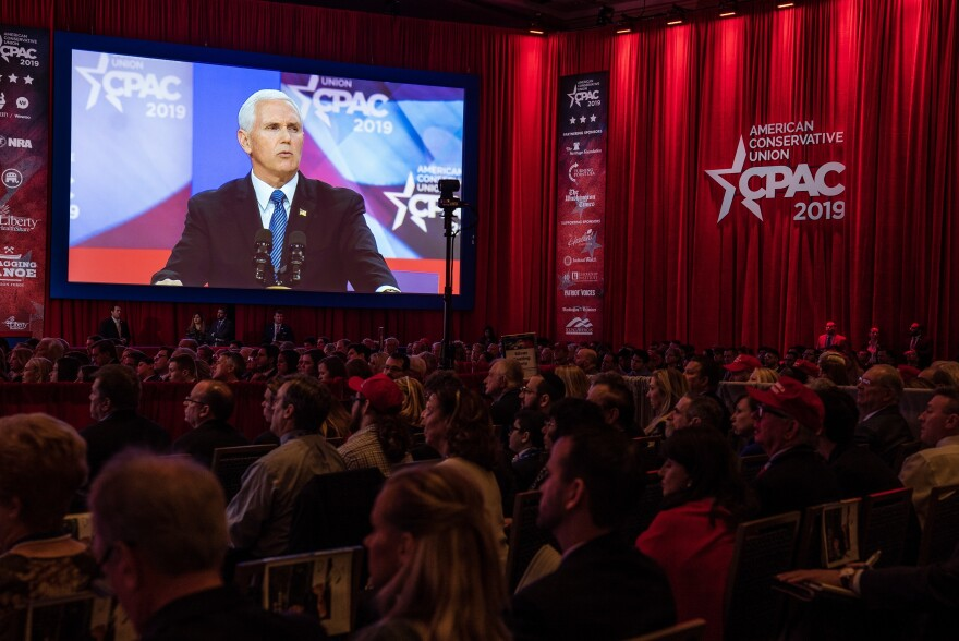 Vice President Mike Pence appears before the Conservative Political Action Conference, or CPAC, on Friday.