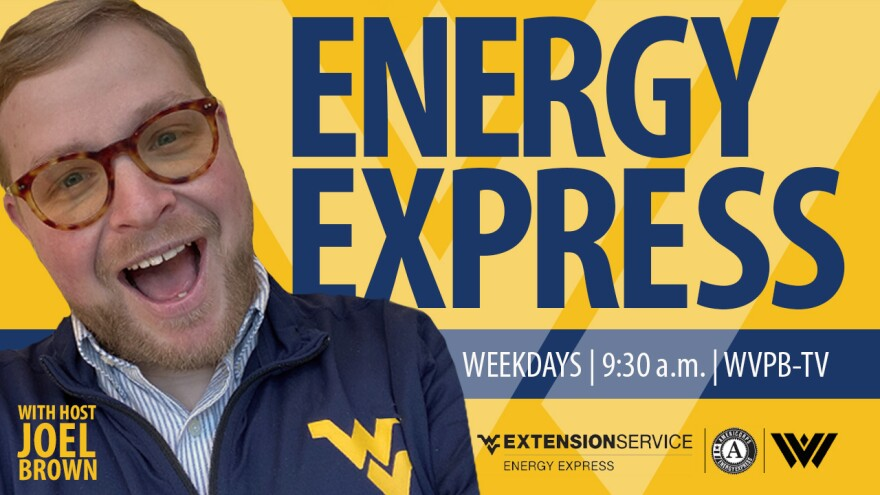Graphic for Energy Express with picture of host Joel Brown.