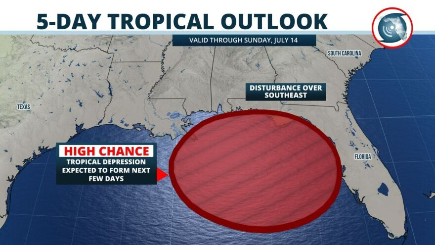 The National Hurricane Center says a trough of  low pressure has an 80 percent chance of develloping into a tropical depression in the Gulf of Mexico in the next five days.