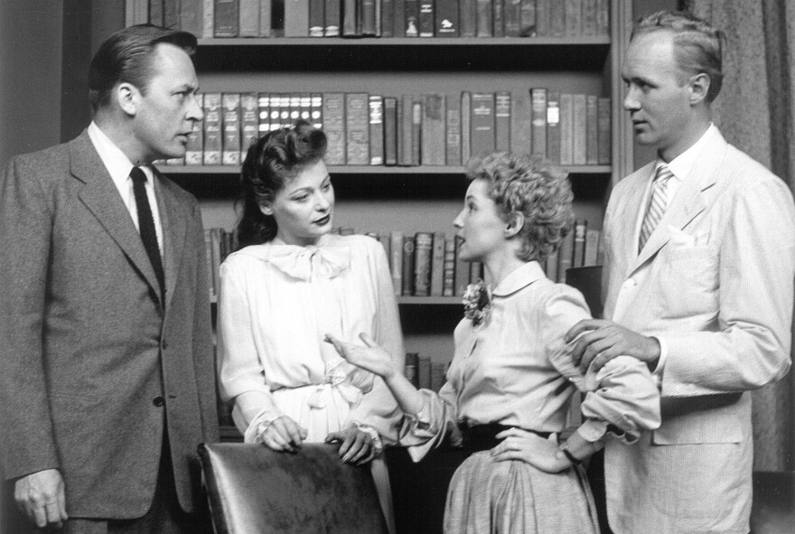 In this image released by CBS, actors (from left) Herbert Nelson, Ellen Demming, Susan Douglas and Lyle Sudrow appear in the premiere TV broadcast of <em>Guiding Light</em> on June 30, 1952.