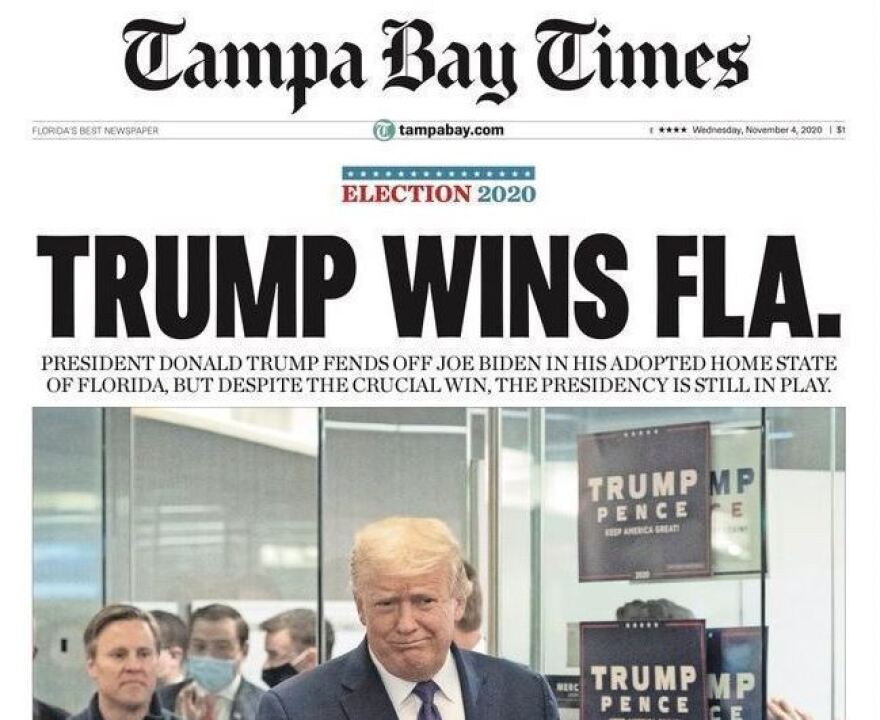 The front page of the <em>Tampa Bay Times </em>on Wednesday trumpeted the biggest local news: President Trump had captured the state's electoral votes.