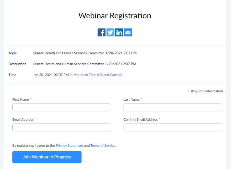 A photo of the registration form to join the virtual committee meeting.