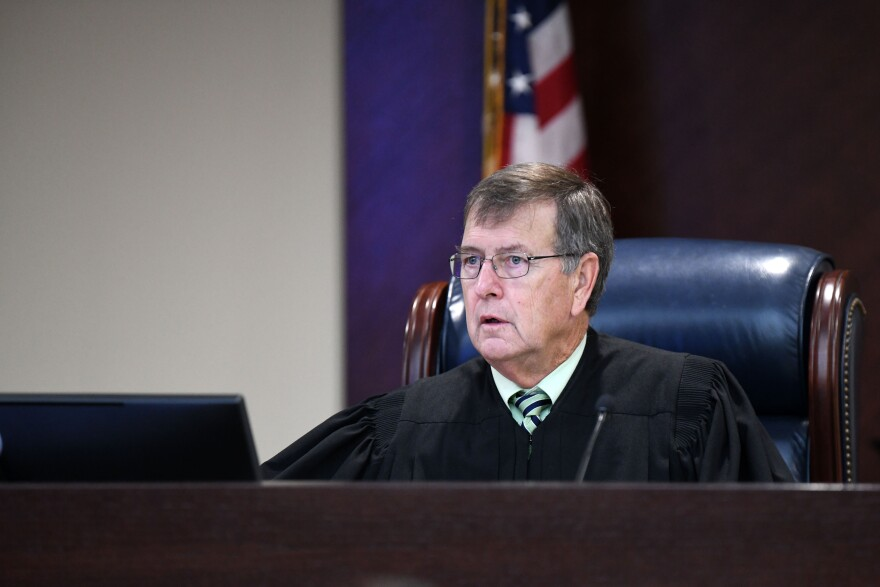 Leon County Circuit Court Judge James C. Hankinson speaking to the court Friday, September 27, 2019, in Tallahassee Florida during the murder trial for Markel's death.