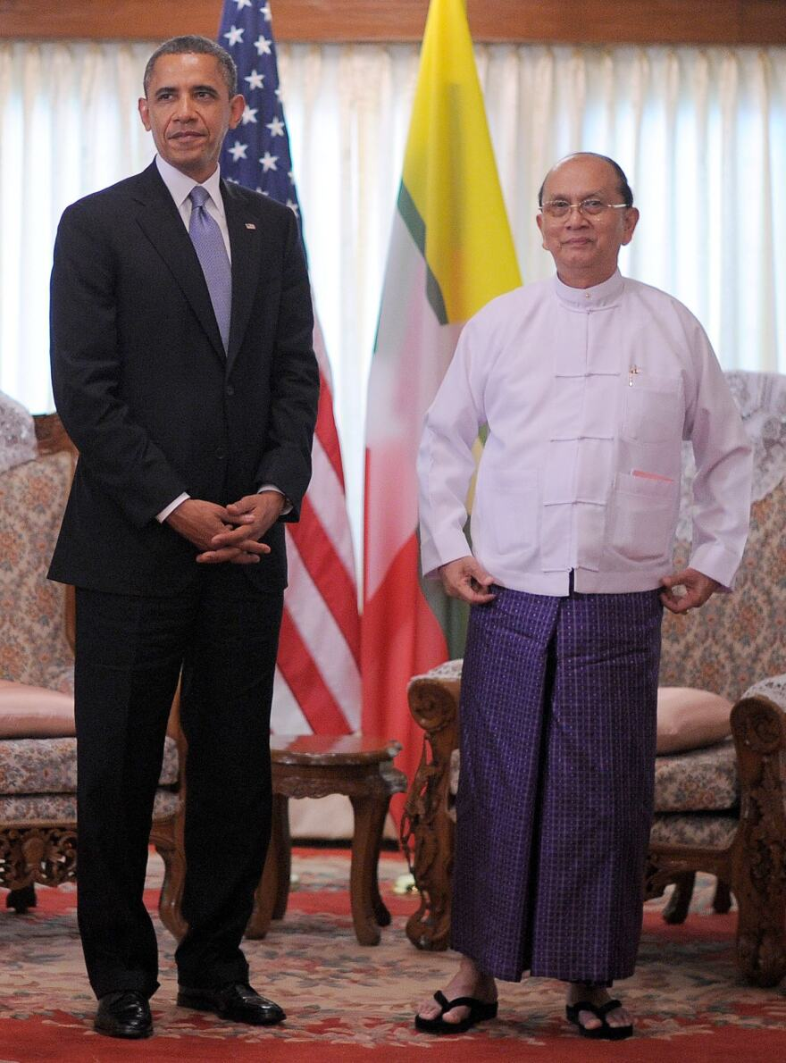 President Obama and President Thein Sein of Myanmar (also known as Burma) earlier today in Yangon.