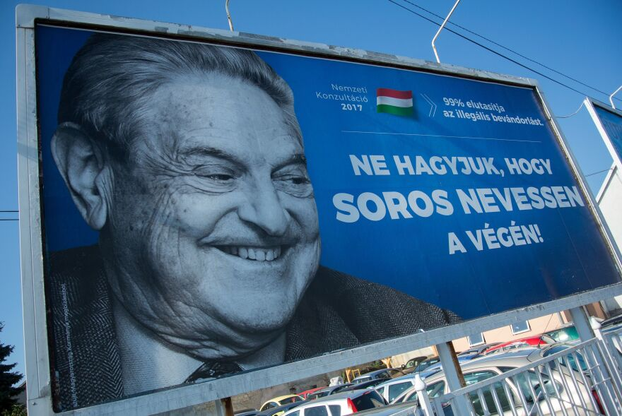 A poster with billionaire George Soros is pictured in July in Székesfehérvár, Hungary.