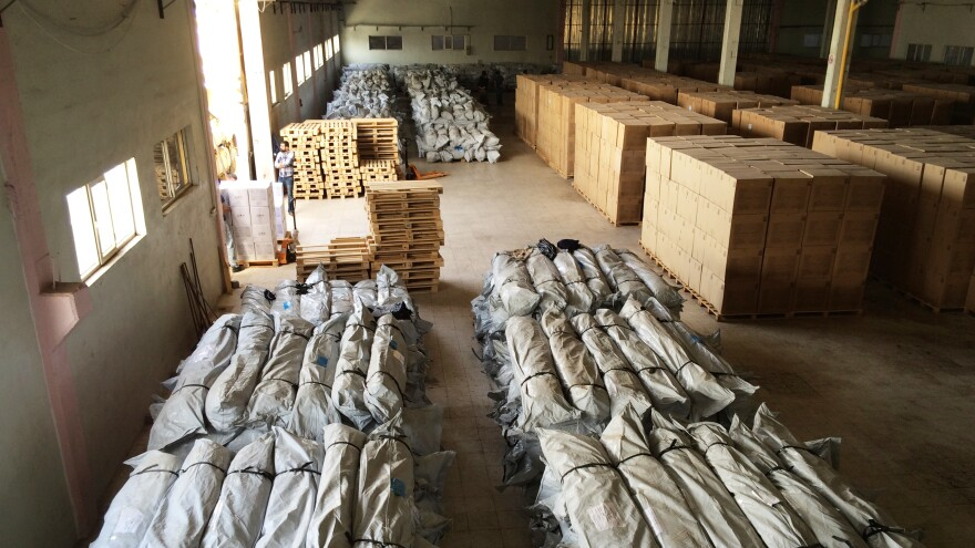 A Mercy Corps warehouse is filled with hygiene kits for distribution in Syria.
