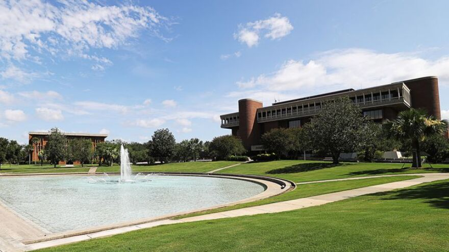 Reflecting Pond and the John C. Hitt Library -- University of Central Florida tour to show changes to mitigate the spread of the novel coronavirus, on Thursday, July 2, 2020.