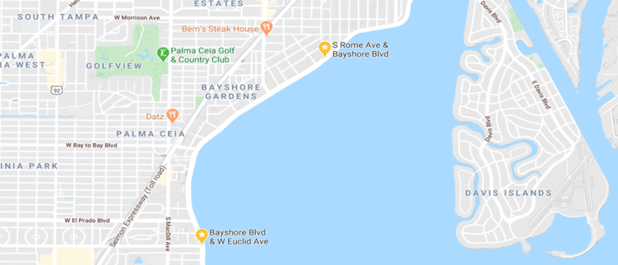 map of Bayshore Blvd in Tampa