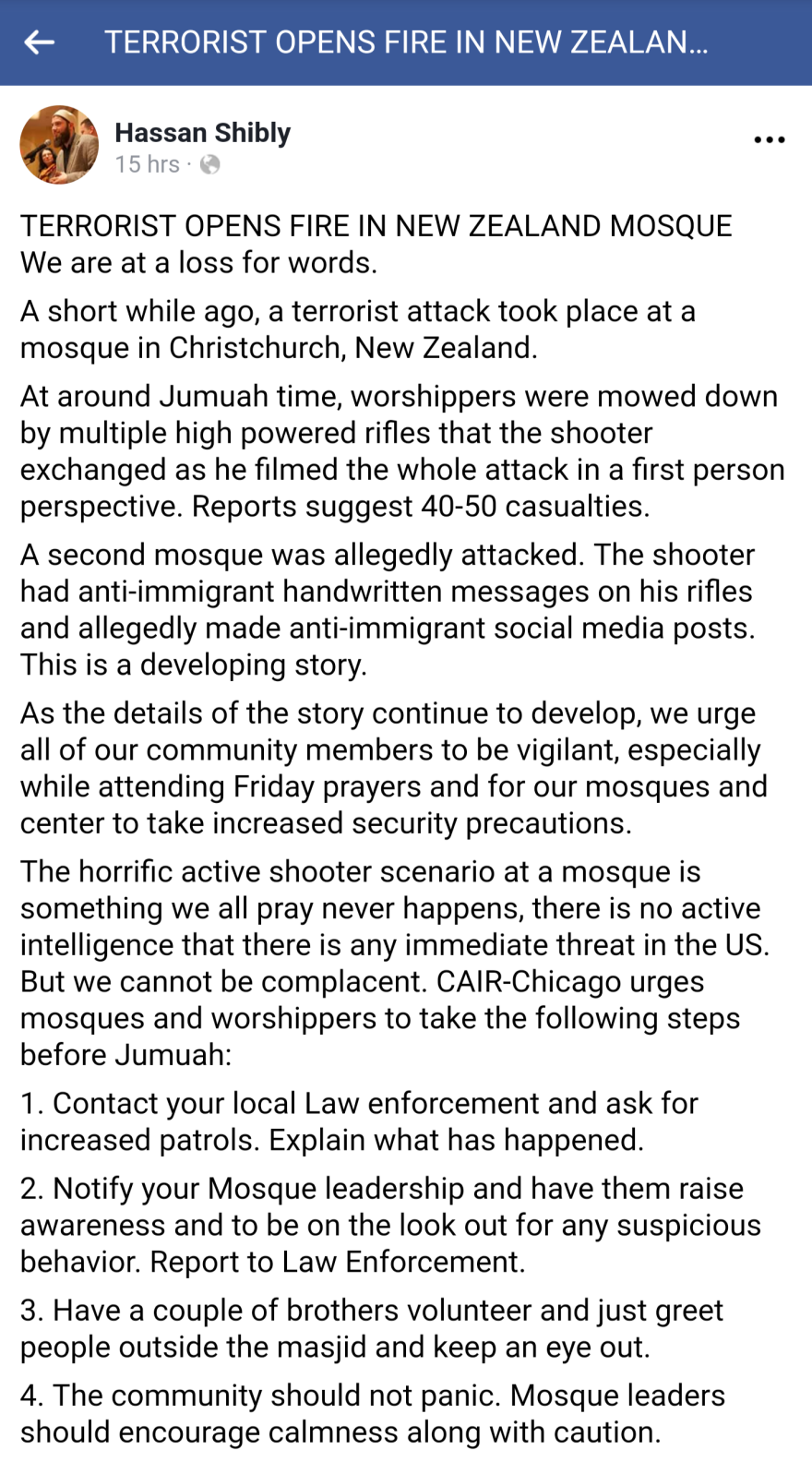 Hassan Shibly, of CAIR, responds on Facebook to the mass shooting in New Zealand.