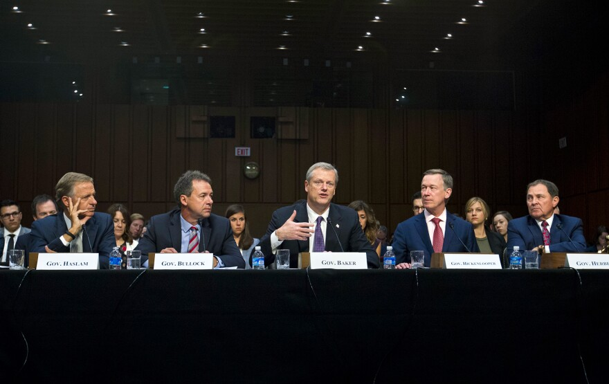 Governors from left; Bill Haslam of Tennessee, Steve Bullock of Montana, Charlie Baker of Massachusetts, John Hickenlooper of Colorado and Gary Herbert of Utah all testified Thursday about ways t improve the ACA.
