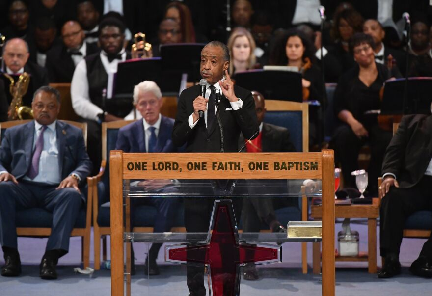 """The Rev. Al Sharpton took a shot at President Trump during the funeral: """"When word went out that Ms. Franklin passed, Trump said, 'She used to work for me,' """" he said, according to the <em>Detroit Free Press</em>. """"No, she used to <em>perform </em>for you. She <em>worked</em> for us."""""""