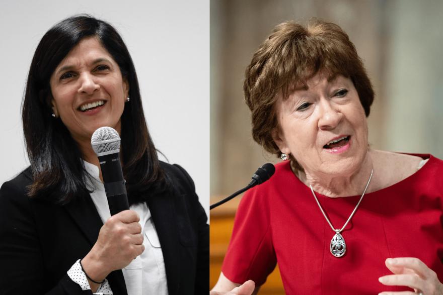 On the left, Maine House Speaker Sara Gideon. (Robert F. Bukaty/AP) On the right, Sen. Susan Collin. (Al Drago/Pool via AP)