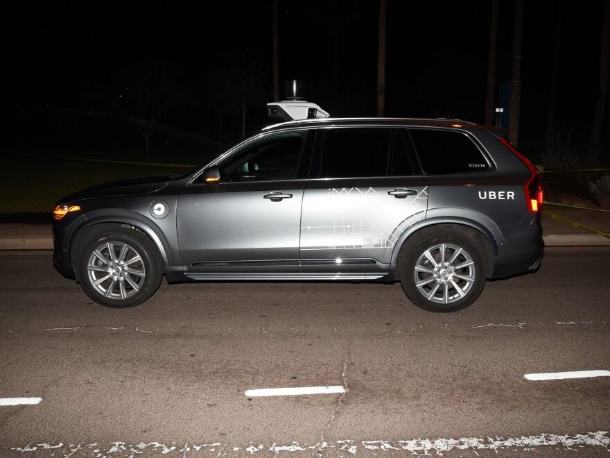 The self-driving Uber SUV that struck pedestrian Elaine Herzberg on March 18, 2018, in Tempe, Ariz.