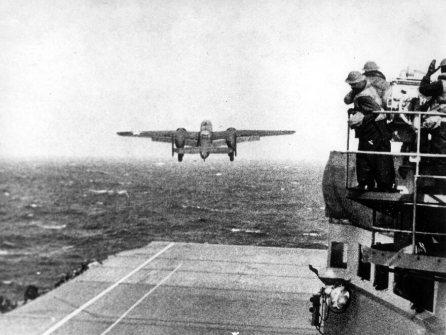 One of Lt. Col. Jimmy Doolittle's B-25 bombers takes off from the flight deck of the USS Hornet for the initial air raid on Tokyo on April 18, 1942.