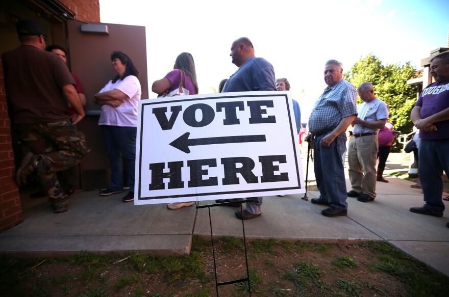 line of voters