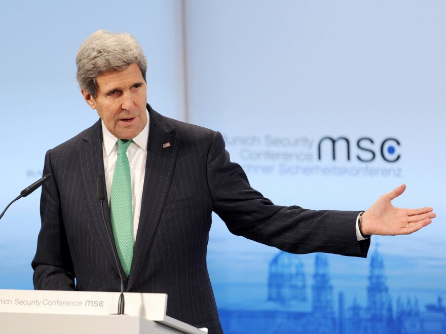 Secretary of State John Kerry addresses delegates at the 50th Security Conference in Munich, Germany, on Saturday.
