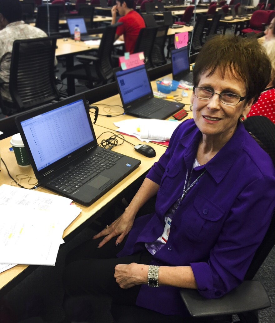 Donna Vickers is one of the Pearson employees scoring PARCC tests.