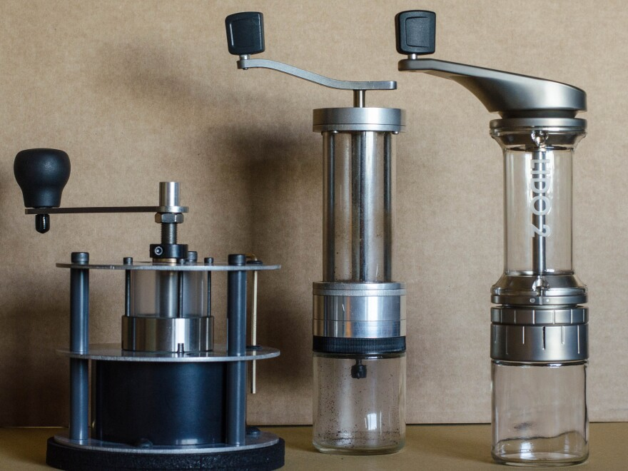 The Lido 2 (far right) is the latest hand grinder produced by the Garrotts. Their previous efforts were the well-regarded Pharos (left) and Lido 1 (center).