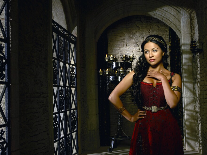 Karen David stars as Isabella Maria Lucia Elizabetta of Valencia on the musical farce <em>Galavant</em>.