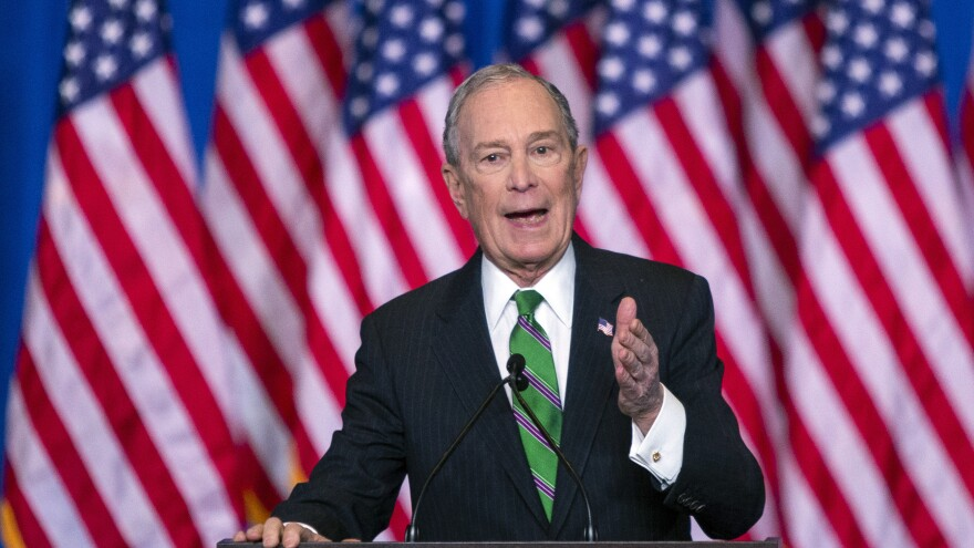 Former Democratic presidential candidate Mike Bloomberg speaks to supporters as he announces the suspension of his campaign and his endorsement of former Vice President Joe Biden on March 4.