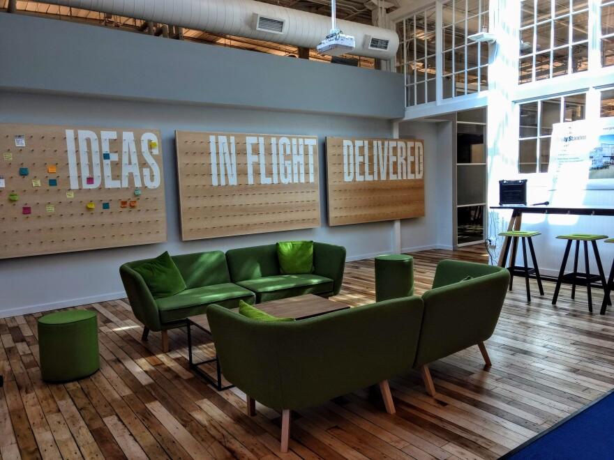 A project progress board at Duke's Innovation Center