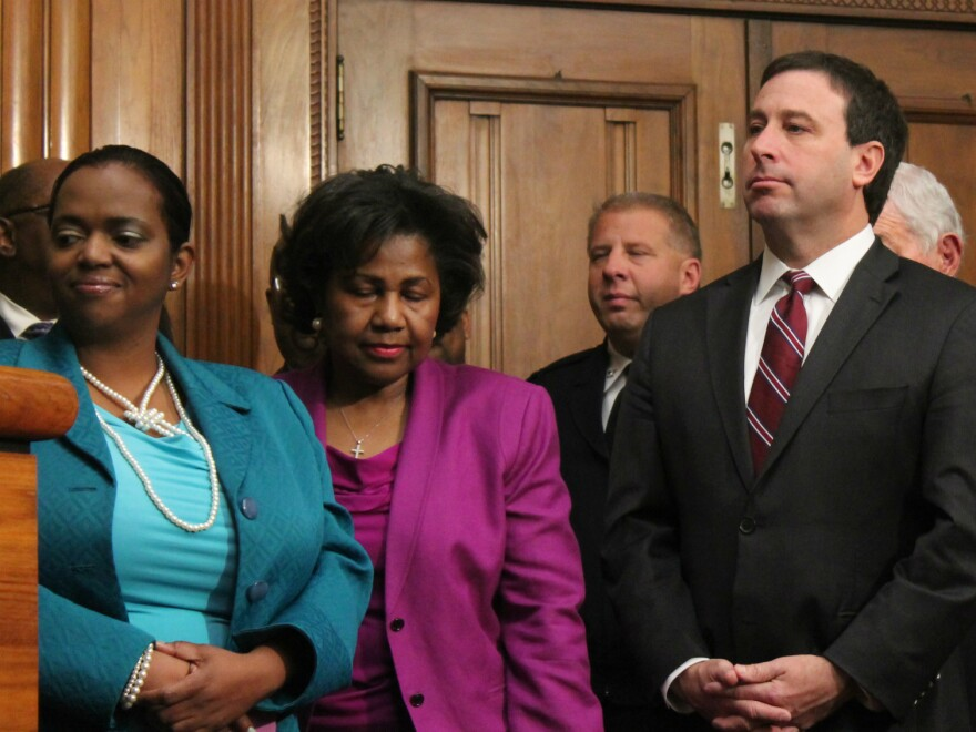 St. Louis Alderman Tammika Hubbard, Comptroller Darlene Green and St. Louis County Executive Steve Stenger worked together to keep the NGA in St. Louis.