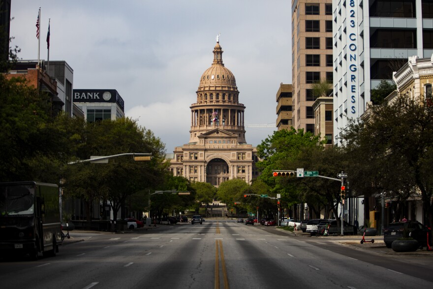 The Texas Capitol Building in downtown Austin during the coronavirus pandemic.