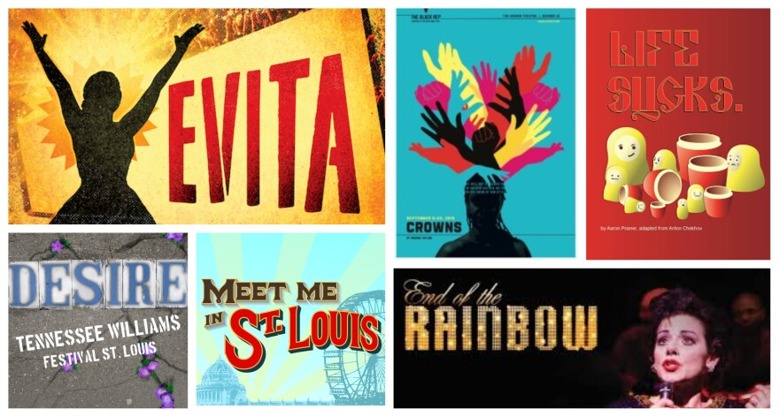 A selection of posters with nominations for the 2019 St. Louis Theater Circle Awards.
