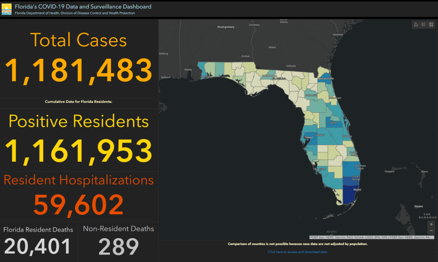 Screenshot of Florida's coronavirus dashboard on 12/18/20.