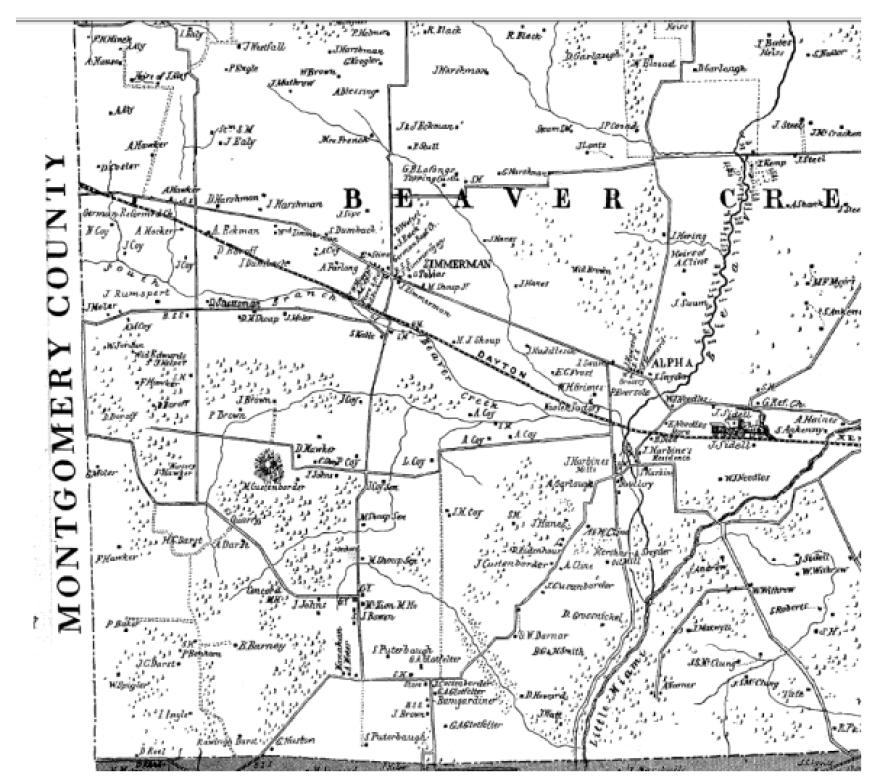 This 1855 atlas of Greene County (reprinted in 1979 by the Greene County Historical Society) shows the road that became Indian Ripple before it was formally named.