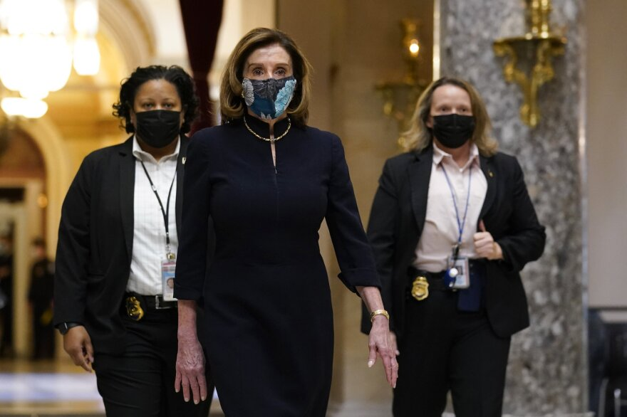 Nancy PelosiSpeaker of the House Nancy Pelosi of Calif., walks through Statuary Hall on Capitol Hill on Wednesday.