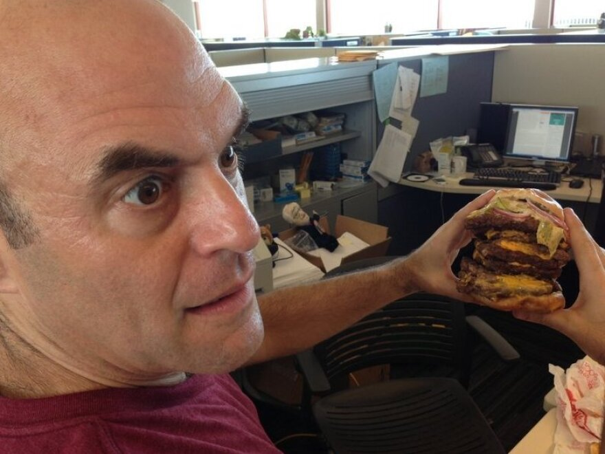 """The nine-patty <a href=""""http://www.npr.org/blogs/thesalt/2013/06/17/192702863/sandwich-monday-the-wendys-t-rex-burger-r-i-p"""">T-Rex Burger</a> helped Peter realize in 2013 that he'd been eating underpattied burgers his whole life."""