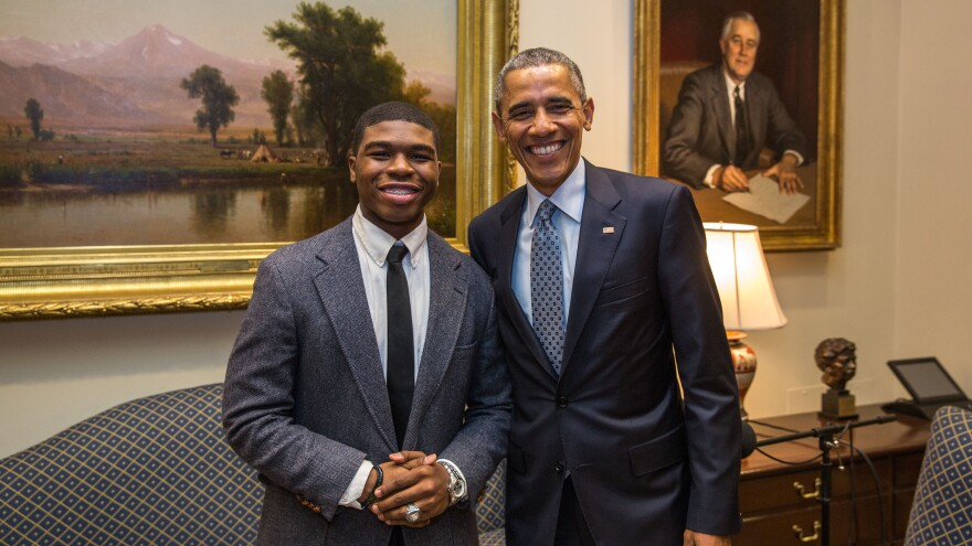 President Barack Obama with Noah McQueen in the Roosevelt Room of the White House on Feb. 20, 2015.