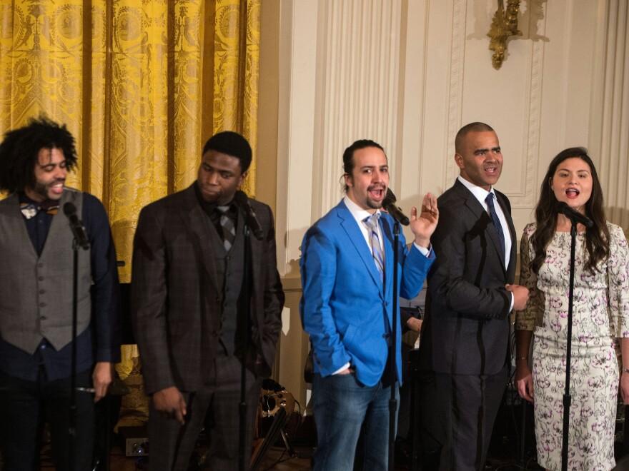 <em>Hamilton </em>got more Tony nominations than<em> </em>either<em> The Producers </em>or<em> Billy Elliot </em>did in their respective years. Here<em>, </em>Broadway cast members including the show's creator and star, Lin-Manuel Miranda (in blue), performed at the White House last month.