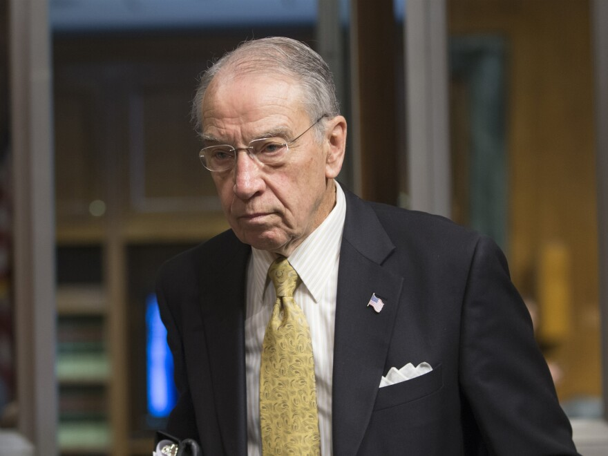 Sen. Chuck Grassley, R-Iowa, arrives for a committee hearing on Capitol Hill on Feb. 23.
