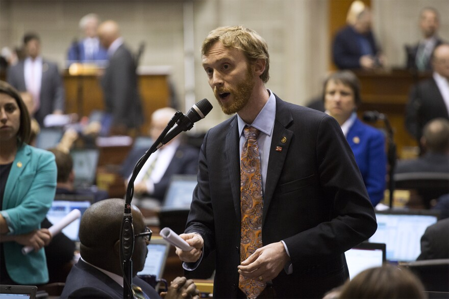Rep. Peter Meredith argues against an emergency clause on the minimum wage bill after a vote to pass the bill.